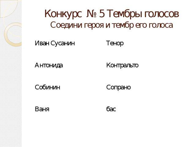 Конкурс № 5 Тембры голосов Соедини героя и тембр его голоса Иван Сусанин Тено...