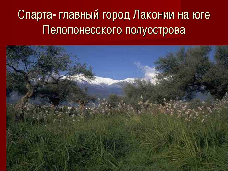 Спарта- главный город Лаконии на юге Пелопонесского полуострова
