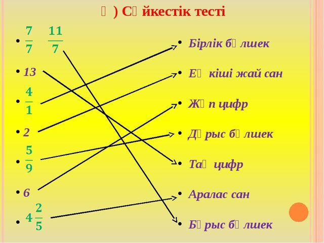 Ә) Сәйкестік тесті  13   2   6   Бірлік бөлшек Ең кіші жай сан Жұп циф...