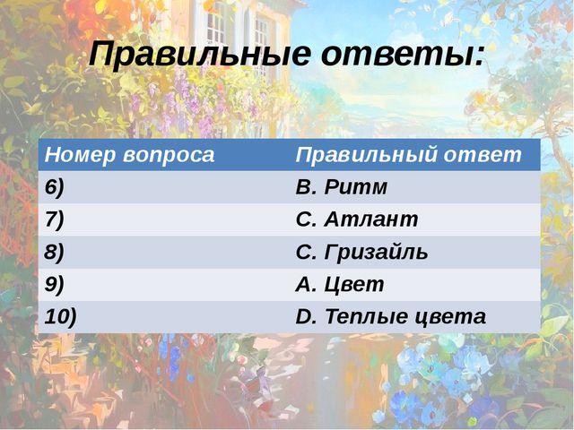 Правильные ответы: Номер вопроса Правильный ответ 6) В. Ритм 7) С. Атлант 8)...