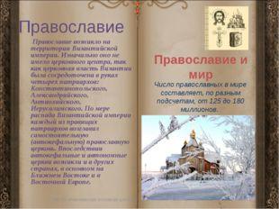 Православие Православие возникло на территории Византийской империи. Изначаль