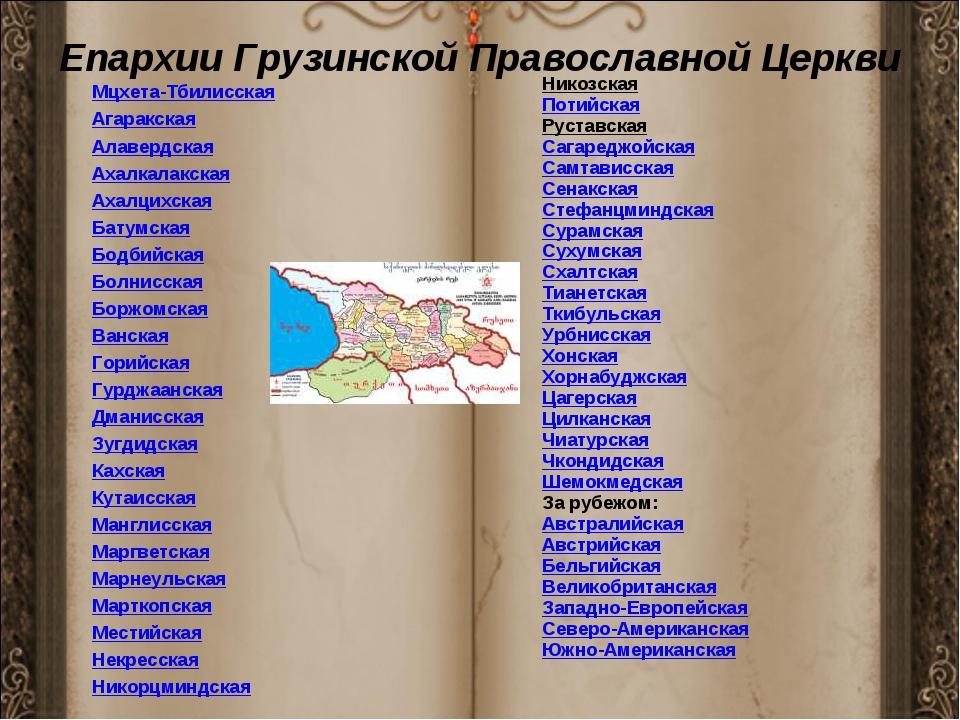 Епархии Грузинской Православной Церкви Мцхета-Тбилисская Агаракская Алавердск...