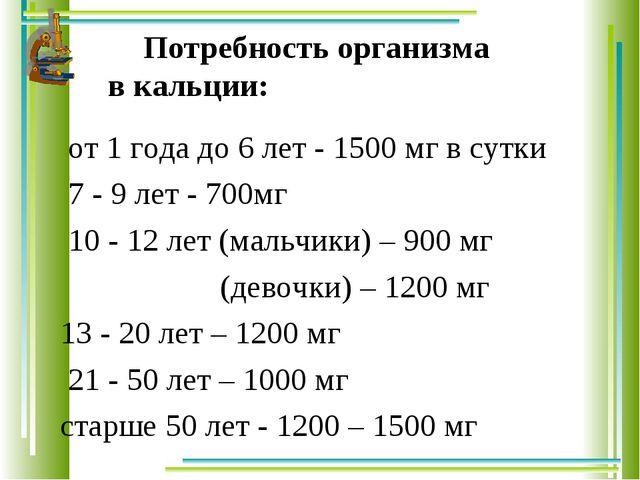 Потребность организма в кальции: от 1 года до 6 лет - 1500 мг в сутки 7 - 9 л...