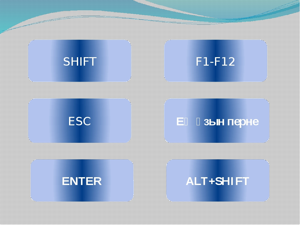 SHIFT ESC ENTER F1-F12 Ең ұзын перне ALT+SHIFT