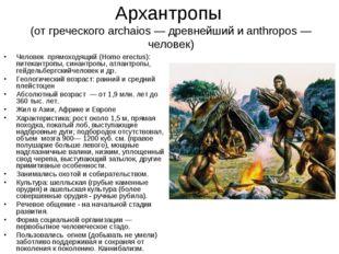 Архантропы (от греческого archaios — древнейший и anthropos — человек) Челове