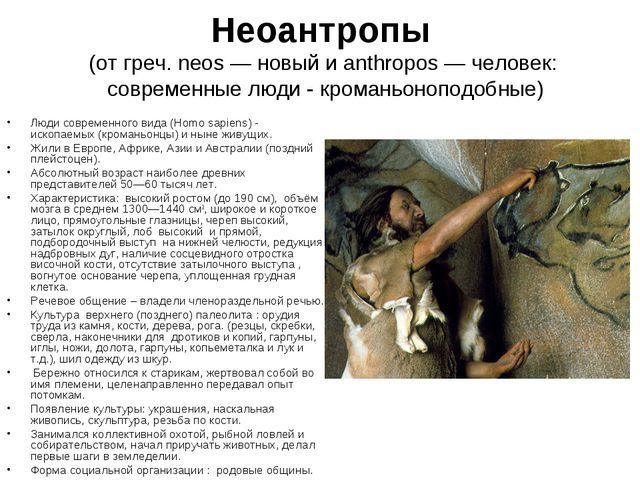 Неоантропы (от греч. neos — новый и anthropos — человек: современные люди - к...