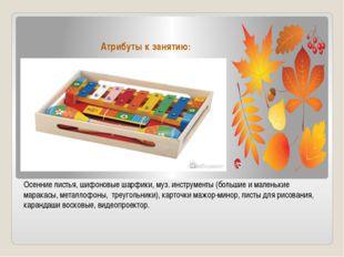 Атрибуты к занятию: Осенние листья, шифоновые шарфики, муз. инструменты (боль