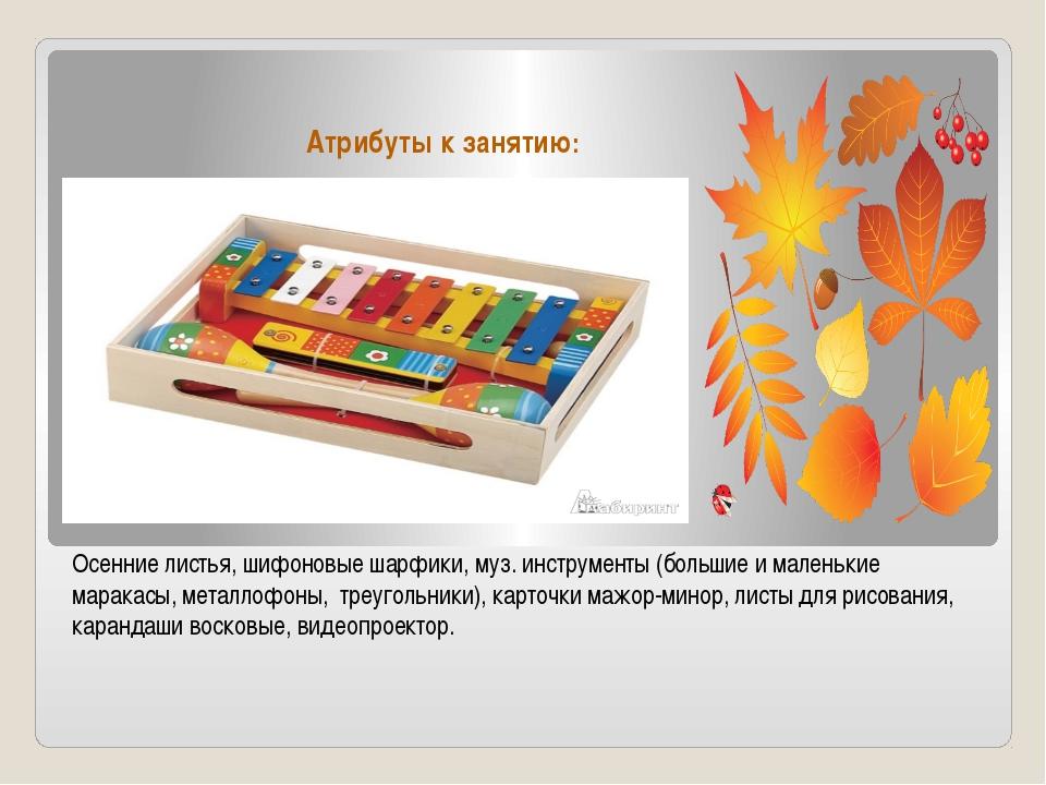 Атрибуты к занятию: Осенние листья, шифоновые шарфики, муз. инструменты (боль...