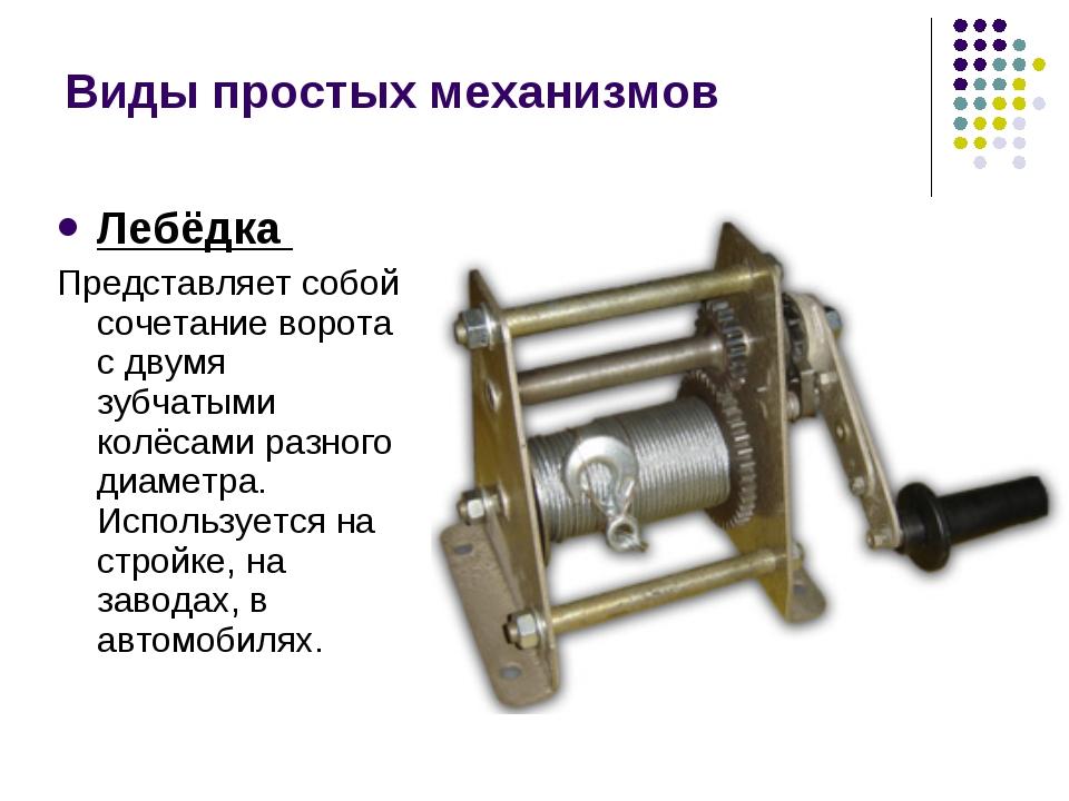 Лебёдка Представляет собой сочетание ворота с двумя зубчатыми колёсами разног...