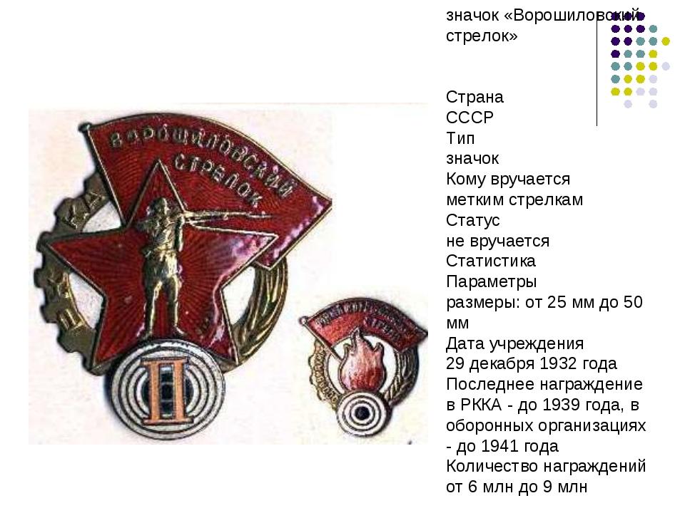 значок «Ворошиловский стрелок» Страна СССР Тип значок Кому вручается метки...