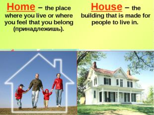 Home – the place where you live or where you feel that you belong (принадлежи