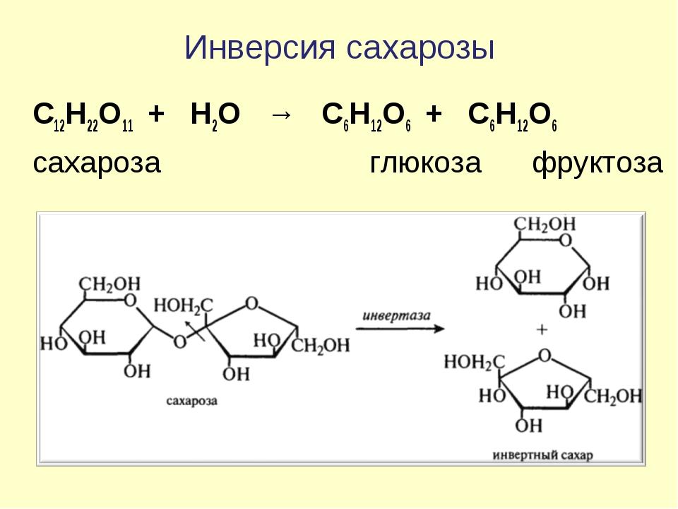 Инверсия сахарозы C12H22O11 + Н2О → C6H12O6 + C6H12O6 сахароза  глюкоза ф...