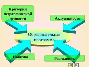 Образовательная программа Актуальность Критерии педагогической ценности Новиз