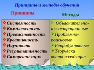 Принципы и методы обучения Принципы Cистемность Комплексность Преемственность