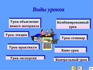 29 Урок-объяснение нового материала Комбинированный урок Урок-лекция Урок-сем