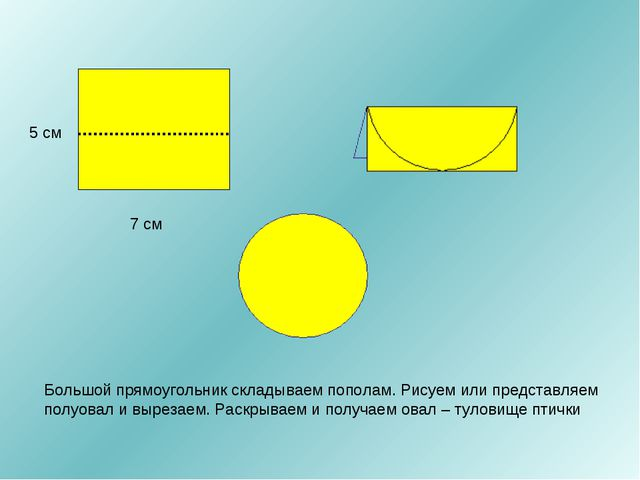 7 см 5 см Большой прямоугольник складываем пополам. Рисуем или представляем п...