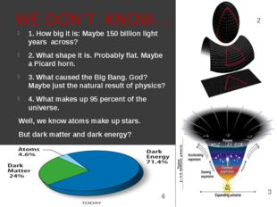 WE DON'T KNOW… 1. How big it is: Maybe 150 billion light years across? 2. Wha