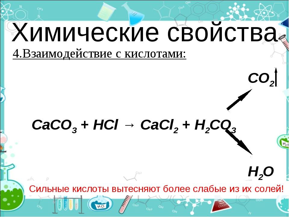 Химические свойства 4.Взаимодействие с кислотами: Сильные кислоты вытесняют б...