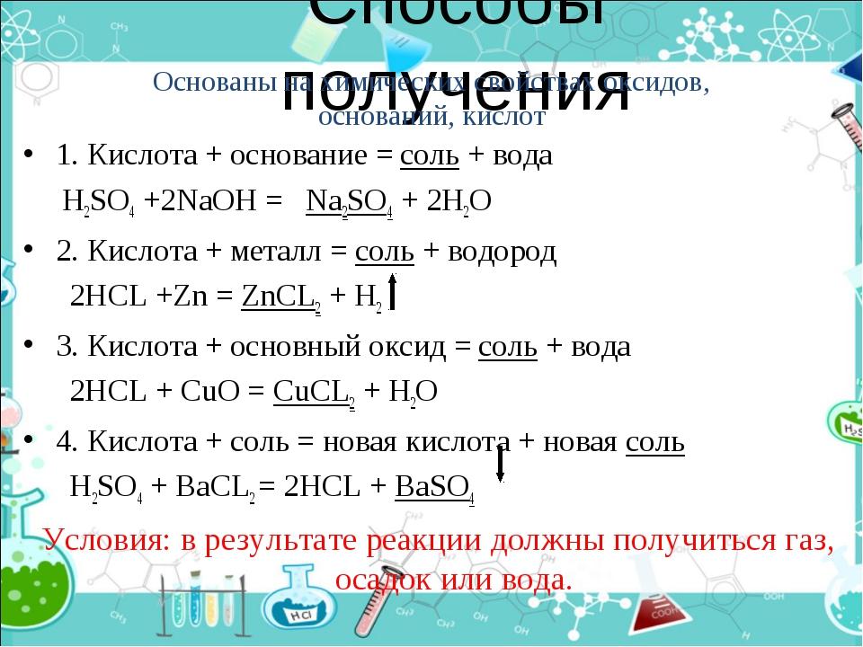 Способы получения 1. Кислота + основание = соль + вода H2SO4 +2NaOH = Na2SO4...