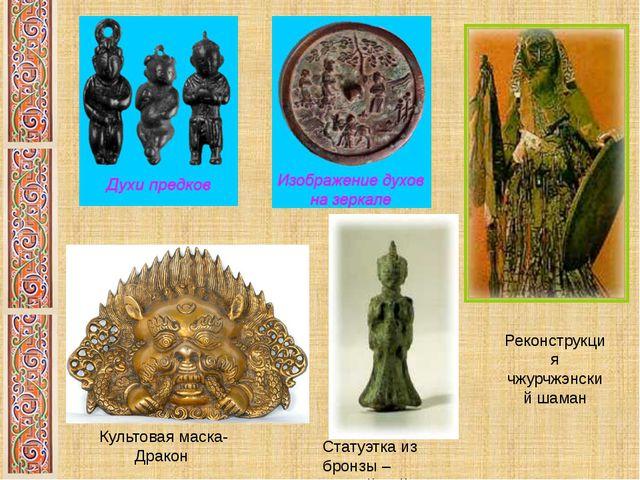 Реконструкция чжурчжэнский шаман Культовая маска-Дракон Статуэтка из бронзы –...