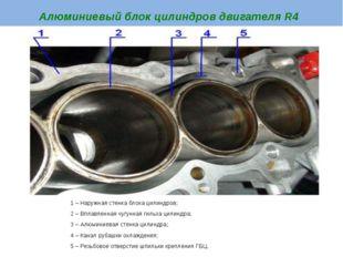 Алюминиевый блок цилиндров двигателя R4 1 – Наружная стенка блока цилиндров;