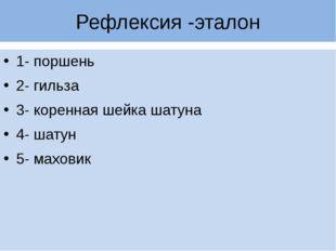 Рефлексия -эталон 1- поршень 2- гильза 3- коренная шейка шатуна 4- шатун 5- м