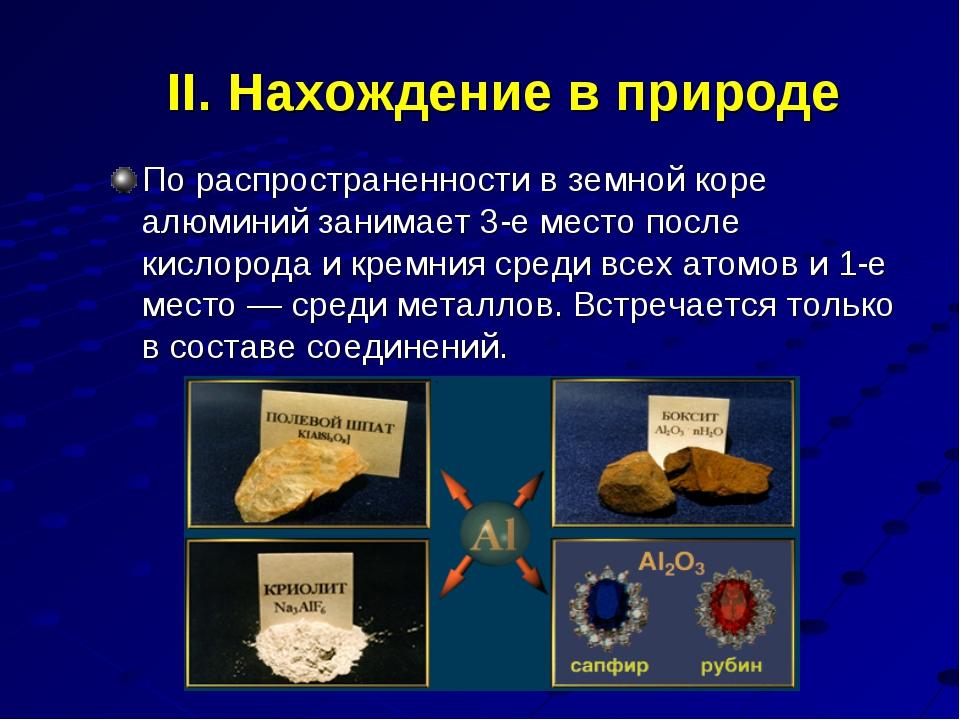 II. Нахождение в природе По распространенности вземной коре алюминий занимае...