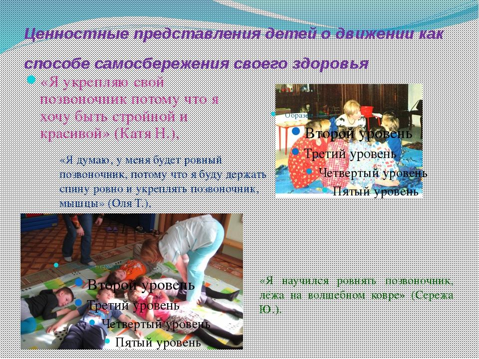 Ценностные представления детей о движении как способе самосбережения своего з...