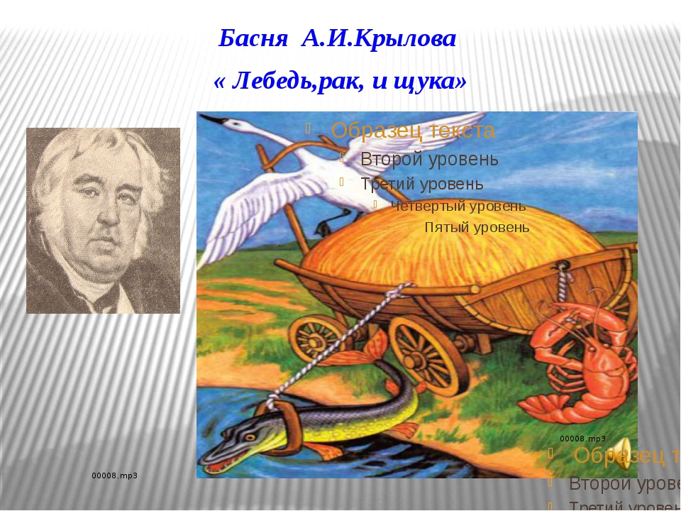 Басня А.И.Крылова « Лебедь,рак, и щука»