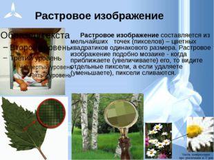 Растровое изображение Растровое изображение составляется из мельчайших точек