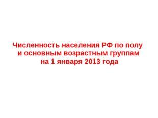 Численность населения РФ по полу и основным возрастным группам на 1 января 20