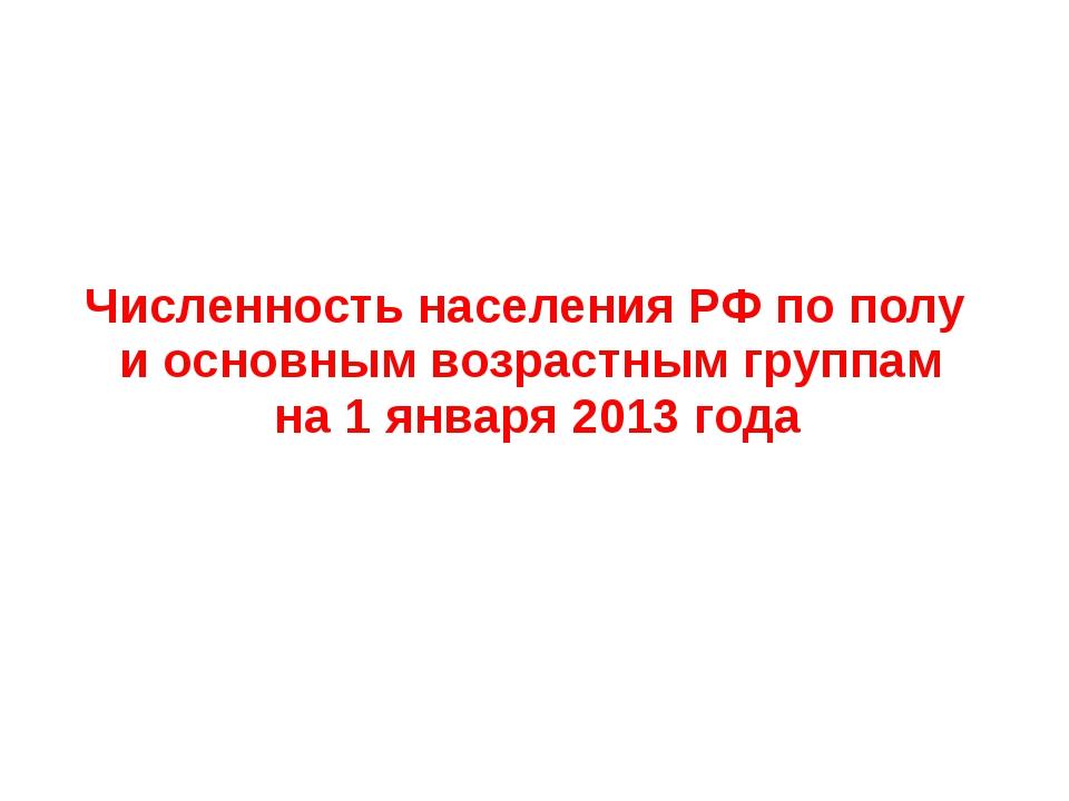 Численность населения РФ по полу и основным возрастным группам на 1 января 20...