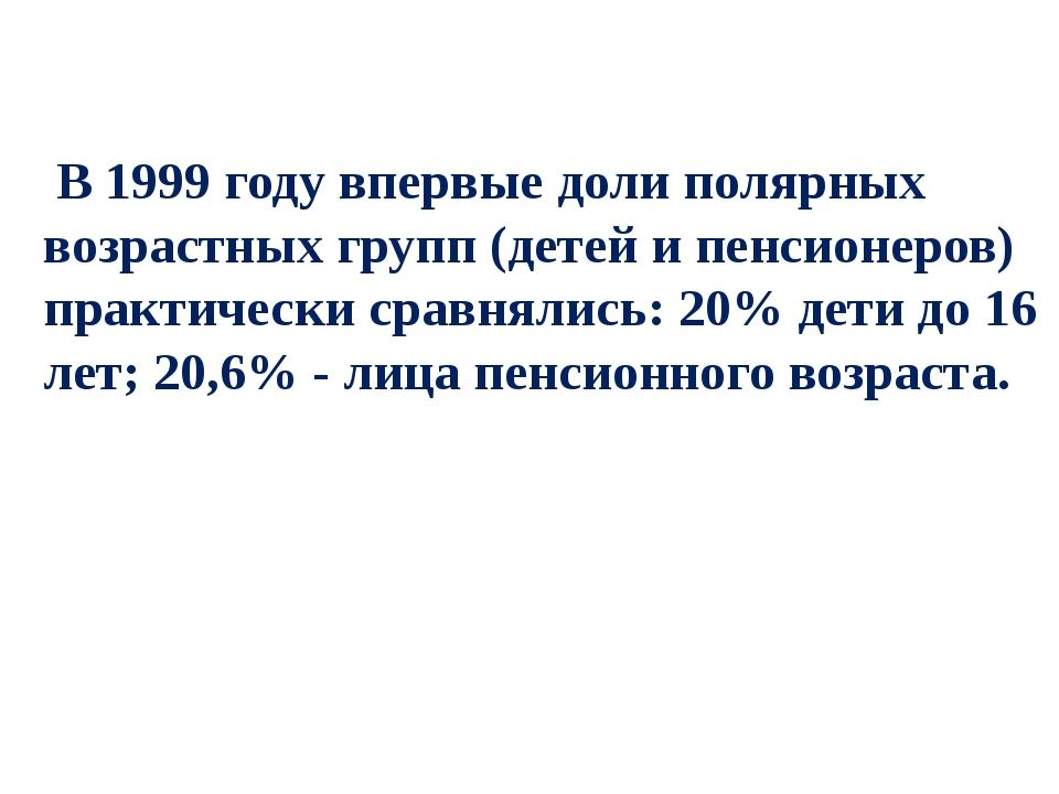 В 1999 году впервые доли полярных возрастных групп (детей и пенсионеров) пра...
