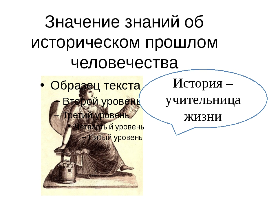 Значение знаний об историческом прошлом человечества История – учительница жи...