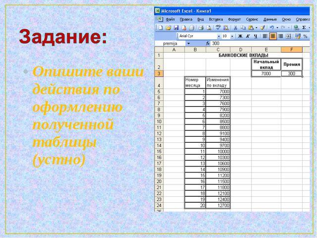 Опишите ваши действия по оформлению полученной таблицы (устно)