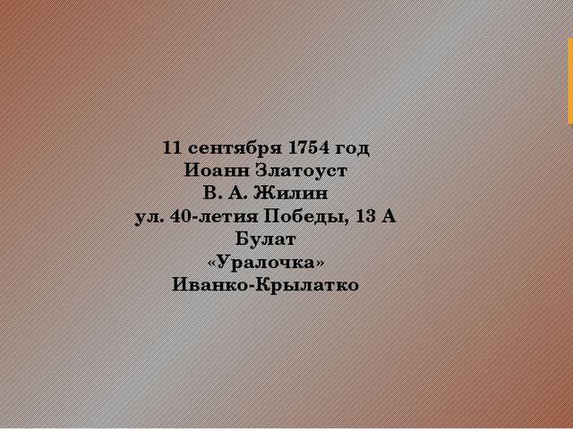 11 сентября 1754 год Иоанн Златоуст В. А. Жилин ул. 40-летия Победы, 13 А Бул...
