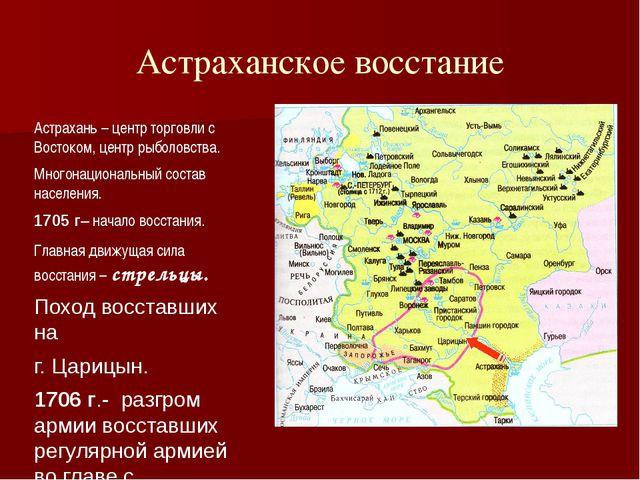 Астраханское восстание Астрахань – центр торговли с Востоком, центр рыболовст...