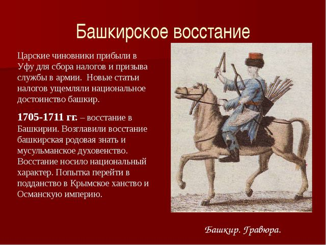 Башкирское восстание Башкир. Гравюра. Царские чиновники прибыли в Уфу для сбо...