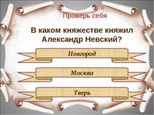 Проверь себя В каком княжестве княжил Александр Невский?