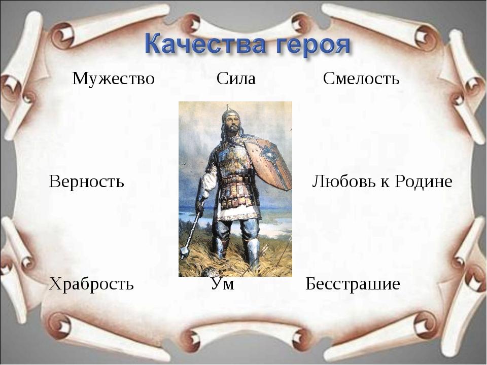 Мужество Сила Смелость Верность Любовь к Родине Храбрость Ум Бесстрашие