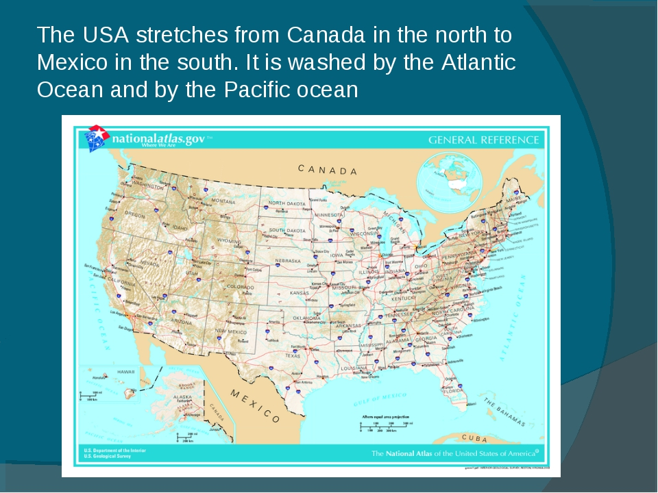 The USA stretches from Canada in the north to Mexico in the south. It is wash...