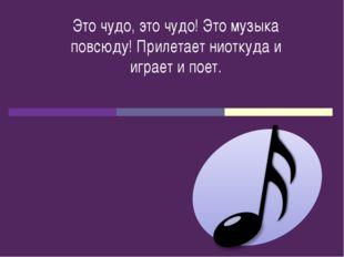 Это чудо, это чудо! Это музыка повсюду! Прилетает ниоткуда и играет и поет.