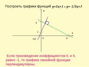 Построить графики функций y=2x+1 и y=-1/2x+3 x y 0 1 -1/2 3 6 Если произведен