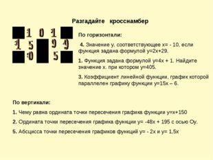 Разгадайте кросснамбер По горизонтали: 4. Значение у, соответствующее х= - 10