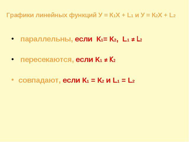 параллельны, если К1= К2, L1 ≠ L2 пересекаются, если К1 ≠ К2 совпадают, если...