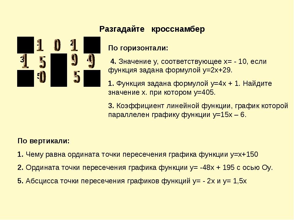 Разгадайте кросснамбер По горизонтали: 4. Значение у, соответствующее х= - 10...