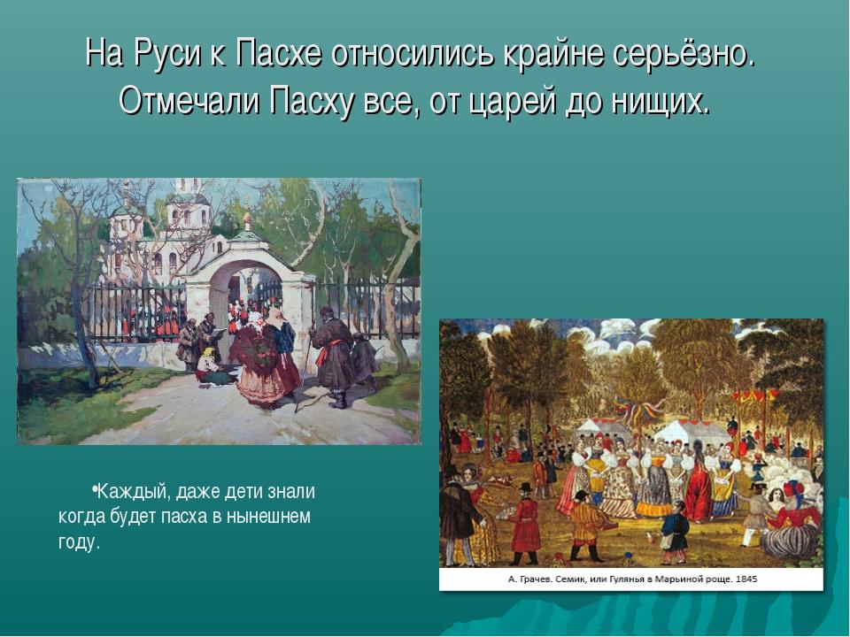 На Руси к Пасхе относились крайне серьёзно. Отмечали Пасху все, от царей до н...