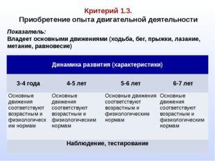 Критерий 1.3. Приобретение опыта двигательной деятельности Показатель: Владе