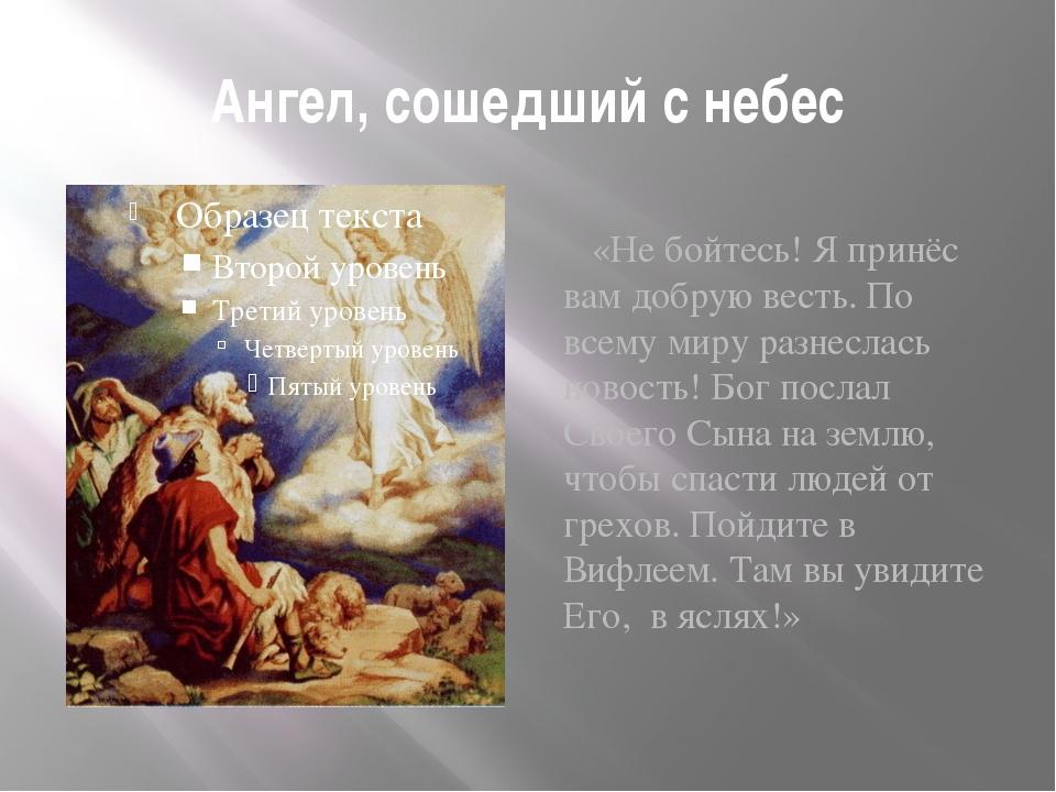 Ангел, сошедший с небес «Не бойтесь! Я принёс вам добрую весть. По всему миру...
