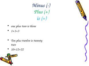 Minus (-) Plus (+) is (=) one plus two is three 1+1=3 Ten plus twelve is twen